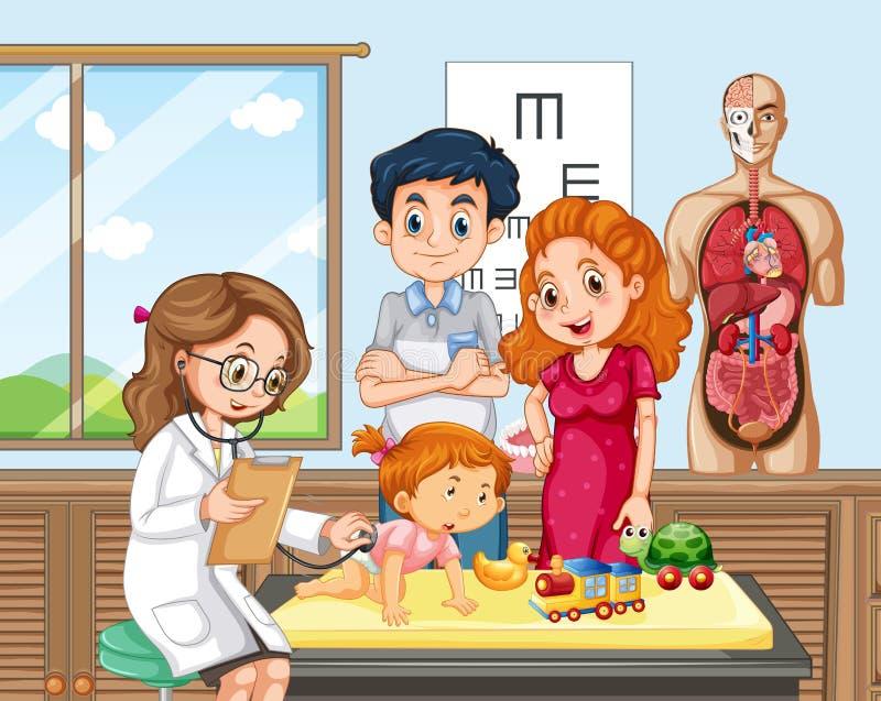 Verificação do bebê acima com doutor ilustração royalty free