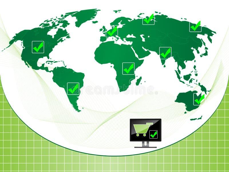 Verificação do comércio electrónico do fundo ilustração do vetor