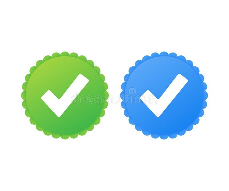 Verificação do perfil ícone aprovado Aceite o crachá Marca de verificação Etiqueta com tiquetaque Ilustração do vetor ilustração do vetor