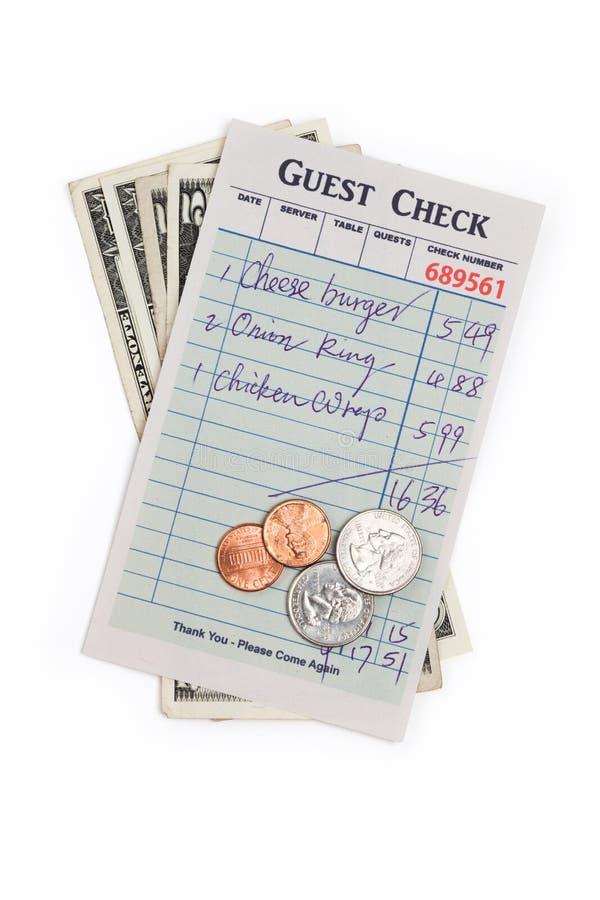 Verificação e dólar do convidado foto de stock
