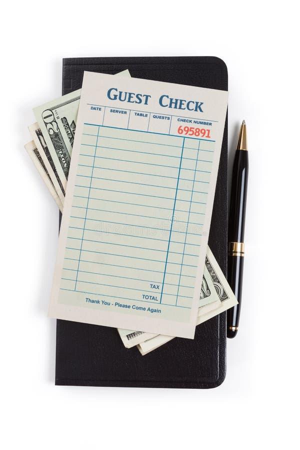 Verificação e dólar vazios do convidado imagens de stock