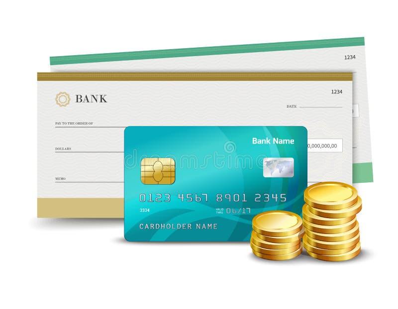 Verificação e moedas do cartão de crédito ilustração stock