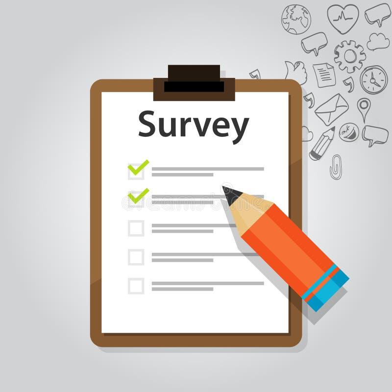 Verificação em linha do teste do cliente da avaliação ilustração stock