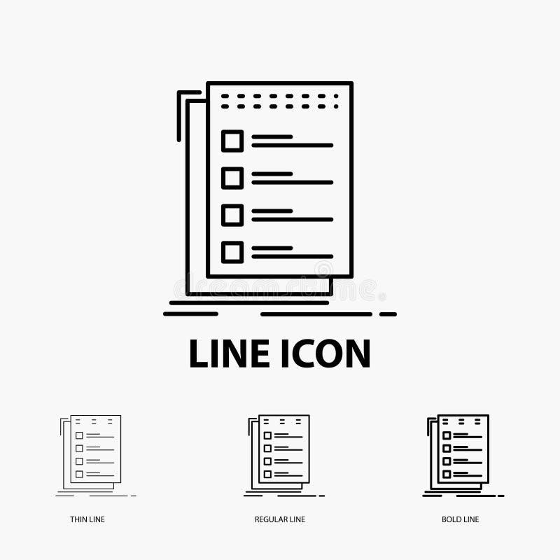 Verificação, lista de verificação, lista, tarefa, fazer o ícone na linha estilo fina, regular e corajosa Ilustra??o do vetor ilustração do vetor