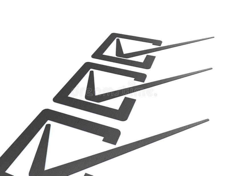Verificação Mark e caixas ilustração do vetor