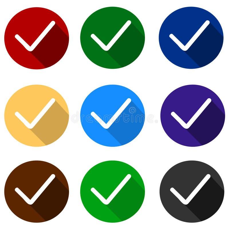 Verificação Mark Icons da Web no projeto liso moderno Grupo colorido do vetor ilustração do vetor