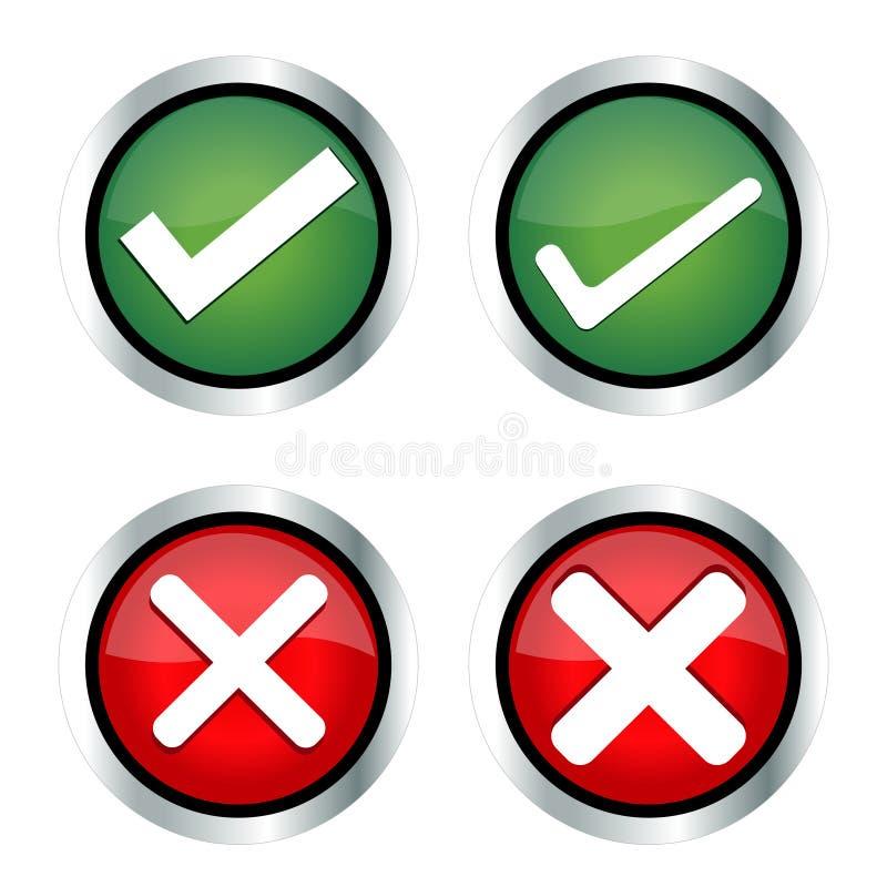 Verificação Mark, Mark Icons errado ilustração do vetor
