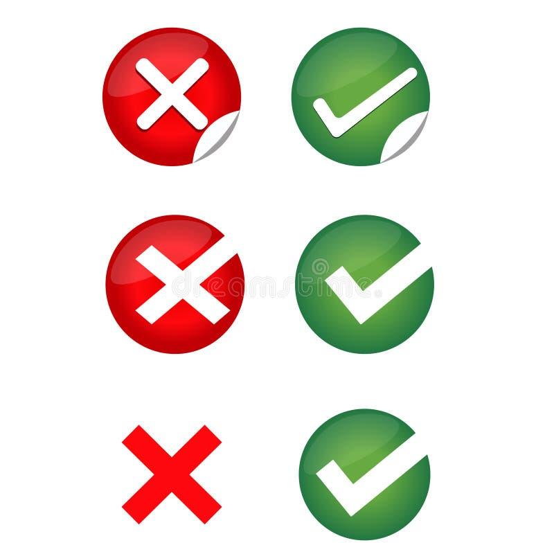 Verificação Mark, Mark Icons errado ilustração stock