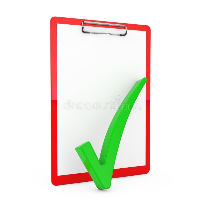 Verificação Mark verde sobre a prancheta vermelha com papel vazio rendição 3d fotos de stock