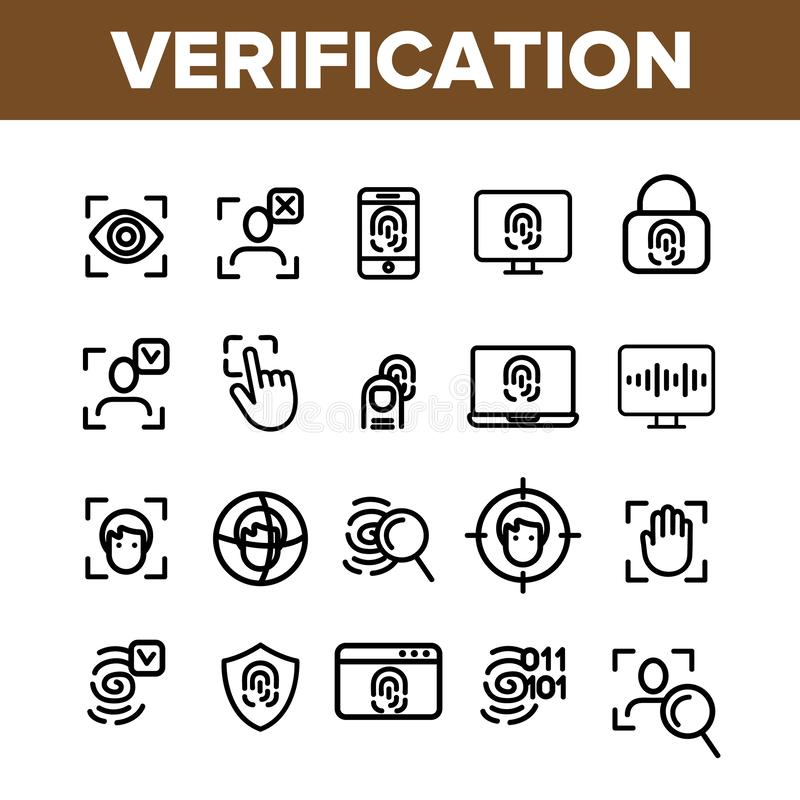 Verifica della linea sottile insieme di vettore di identificazione delle icone illustrazione vettoriale