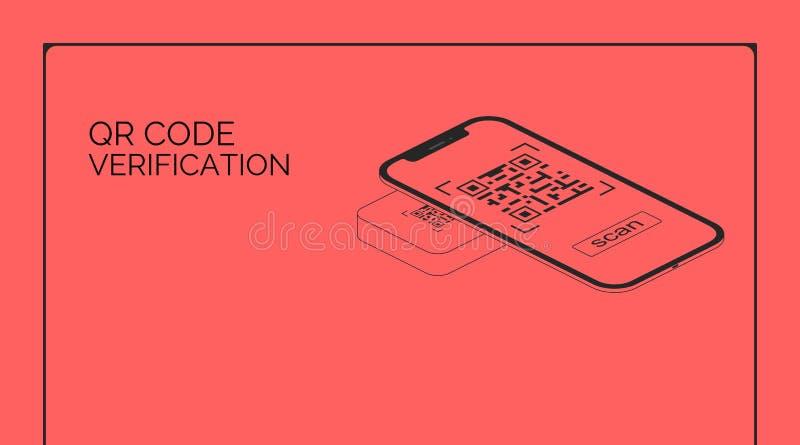 Verifica di codice di QR Lo schermo di Smartphone codice a barre di ricerca ed ha indicato Ciao telefono cellulare isometrico del illustrazione vettoriale