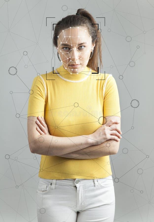 Verificaci?n y detecci?n biom?tricas de la cara imagenes de archivo