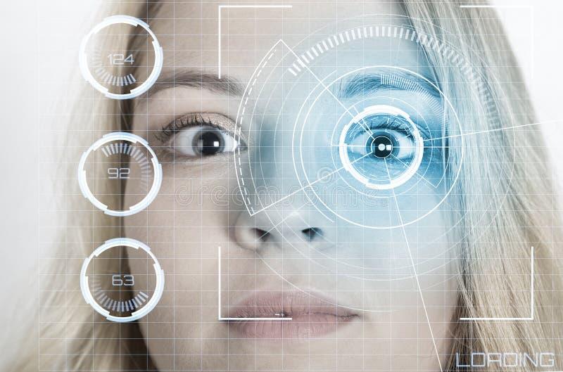 Verificaci?n biom?trica El concepto de una nueva tecnolog?a del reconocimiento de cara foto de archivo