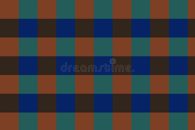 Verificadores do fundo do verde, obscuridade - azul, cores marrons! ilustração stock