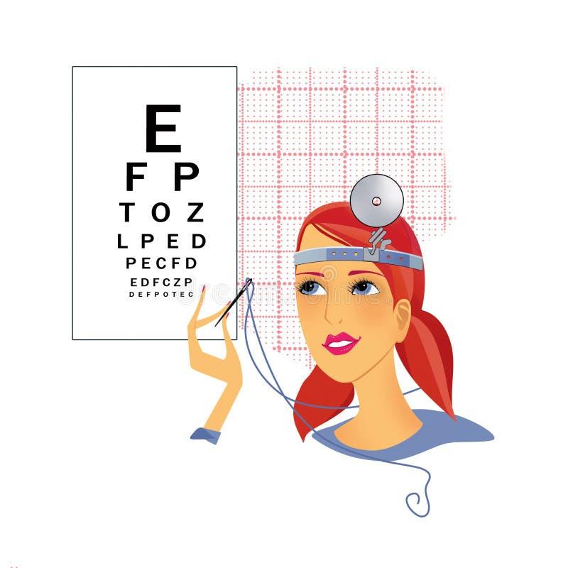 Verificando a acuidade visual Retrato de uma menina que olha uma agulha com uma linha no fundo da tabela para um exame de olho ilustração royalty free