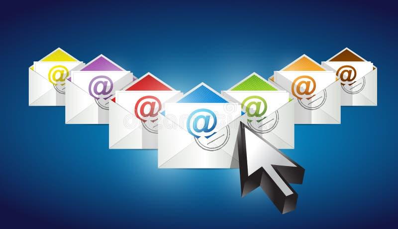 Verificando email. grupo de envelopes com email ilustração royalty free