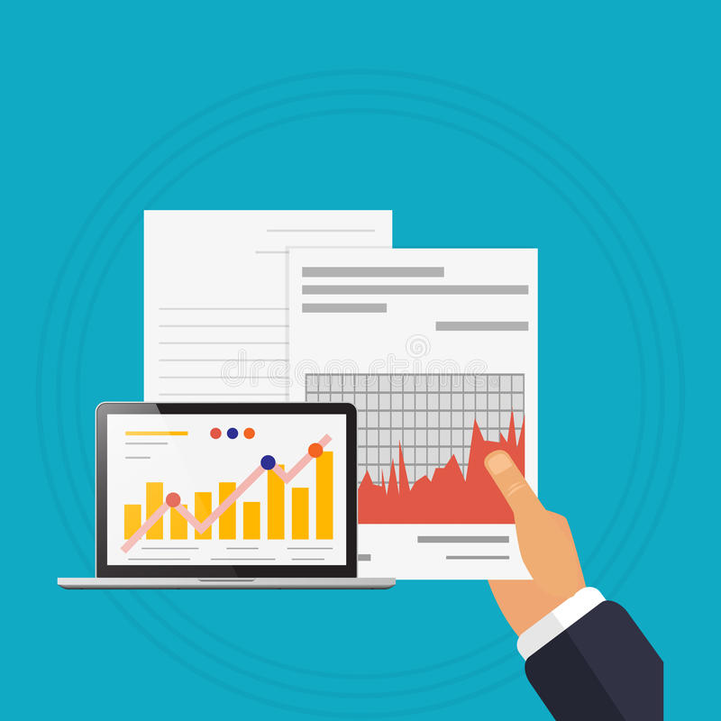 Verificar analisa o fundo do azul do portátil da ilustração ilustração do vetor