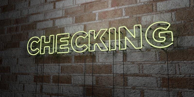 VERIFICAR - Sinal de néon de incandescência na parede da alvenaria - 3D rendeu a ilustração conservada em estoque livre dos direi ilustração royalty free
