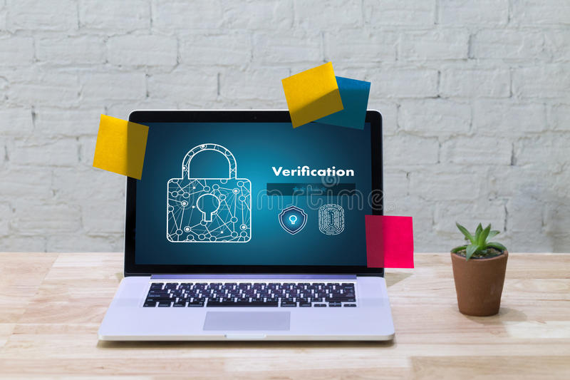 Verification Action professionals working Process Performance Pa. Ssword and Register royalty free stock photo