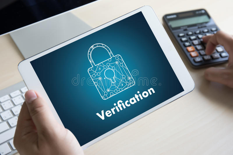 Verification Action professionals working Process Performance Pa. Ssword and Register stock photos