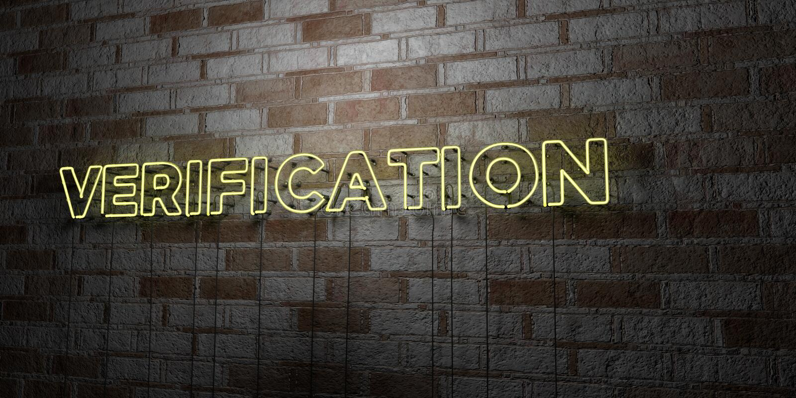 VERIFICATION - Glowing Neon Sign on stonework wall - 3D rendered royalty free stock illustration. Can be used for online banner ads and direct mailers vector illustration