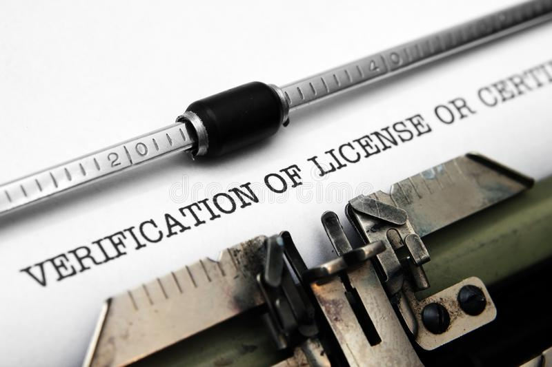 Verification of license. Close up of Verification of license stock photography