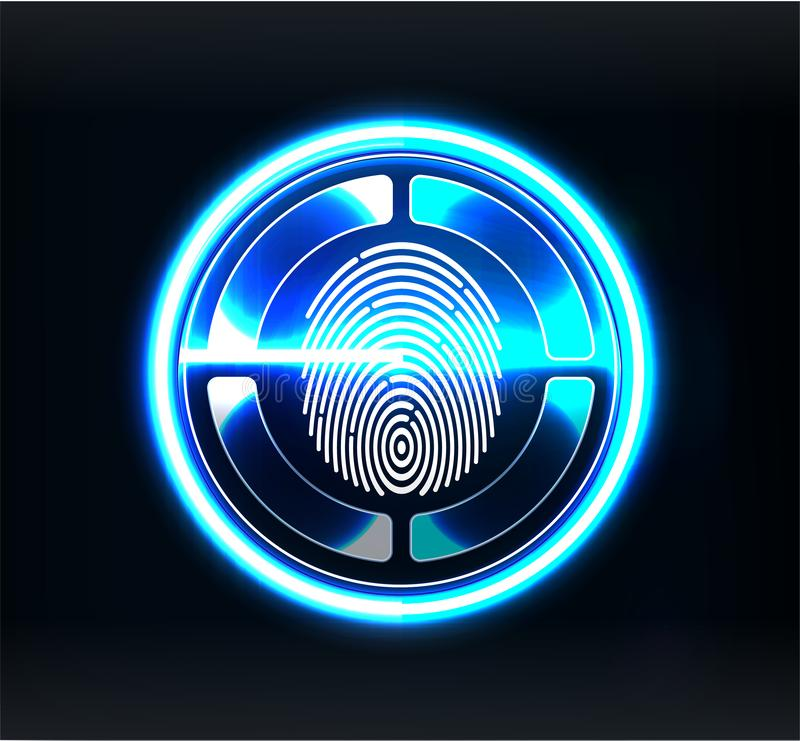 Verification scanners. Finger Scan in Futuristic Style. Biometric id with Futuristic vector illustration