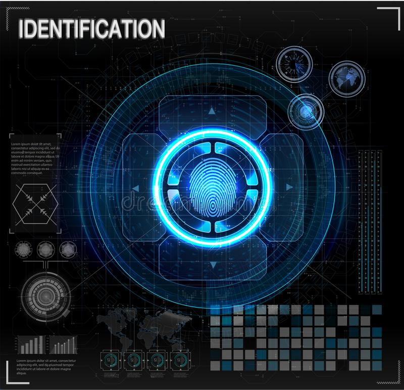 Verification scanners set. Finger Scan in Futuristic Style. Biometric id with Futuristic HUD Interface. screen monitor background. Template. Scanning Technology royalty free illustration