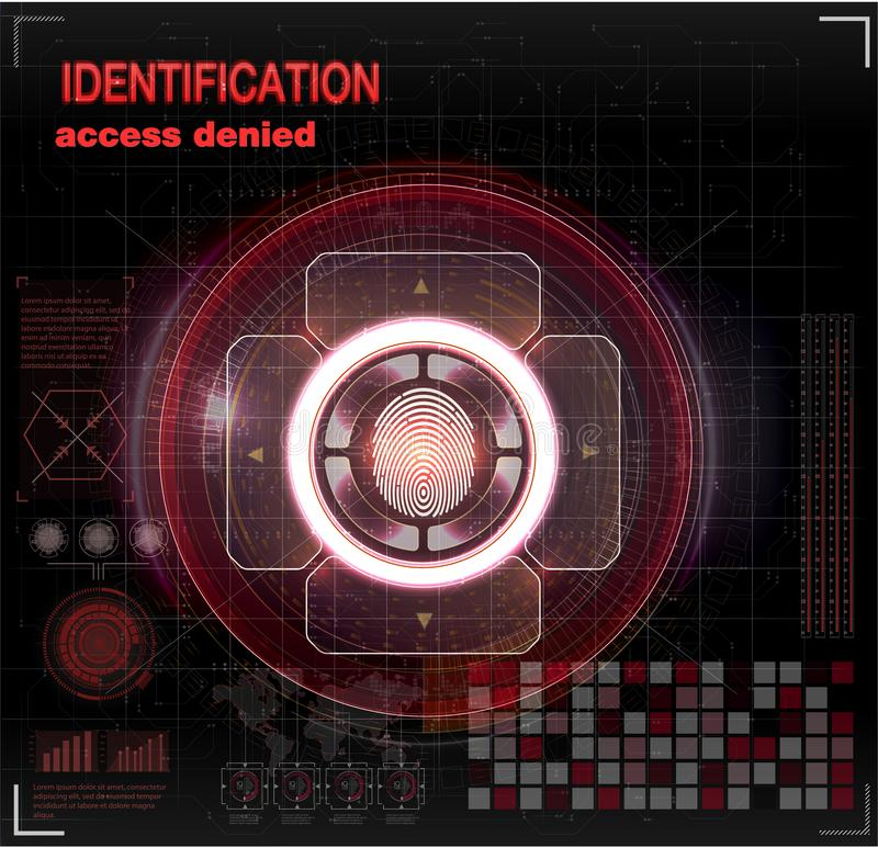 Verification scanners set. Finger Scan in Futuristic Style. Biometric id with Futuristic HUD Interface. screen monitor background stock illustration