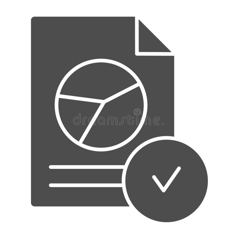 Verified chart document solid icon. Checked report vector illustration isolated on white. Paper with checkmark glyph. Style design, designed for web and app stock illustration