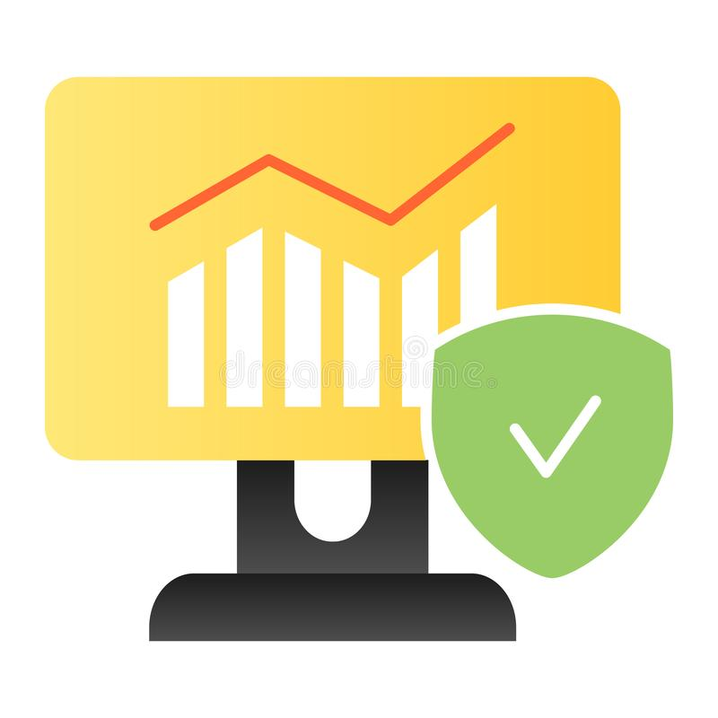 Verified chart flat icon. Diagram on computer color icons in trendy flat style. Monitor with graph and checkmark vector illustration