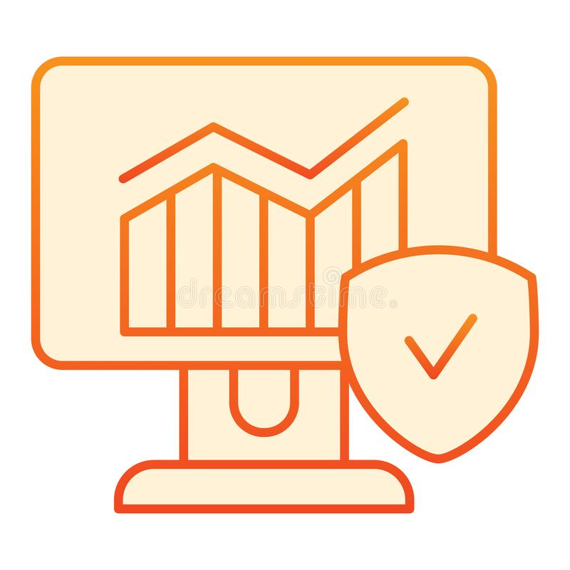 Verified chart flat icon. Diagram on computer orange icons in trendy flat style. Monitor with graph and checkmark stock illustration