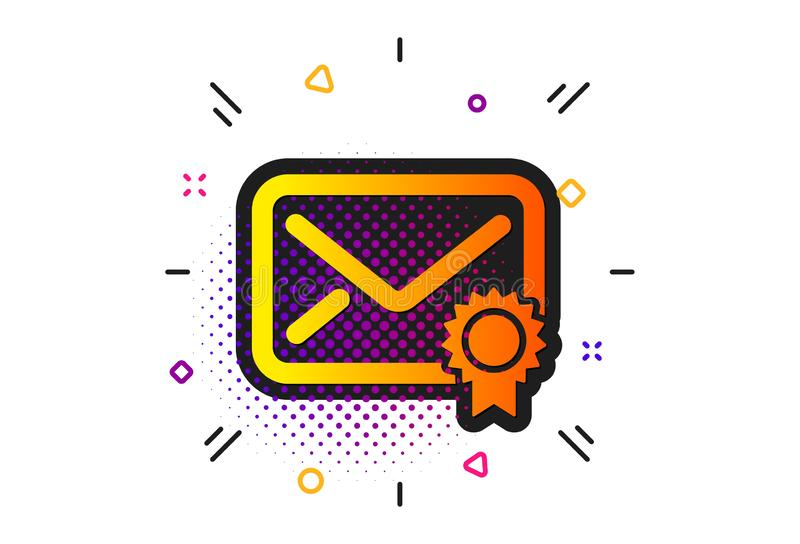 Verified Mail icon. Confirmed Message correspondence sign. Vector. Confirmed Message correspondence sign. Halftone circles pattern. Verified Mail icon. E-mail stock illustration
