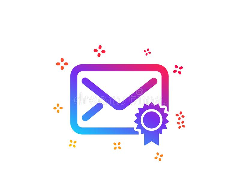Verified Mail icon. Confirmed Message correspondence sign. Vector. Verified Mail icon. Confirmed Message correspondence sign. E-mail symbol. Dynamic shapes vector illustration