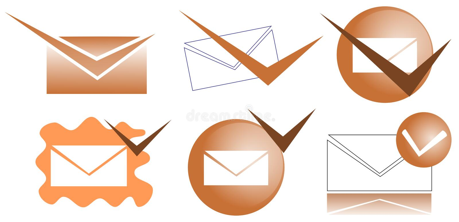 Verified mail icons. Set of icons usable in all projects about verified mail royalty free illustration
