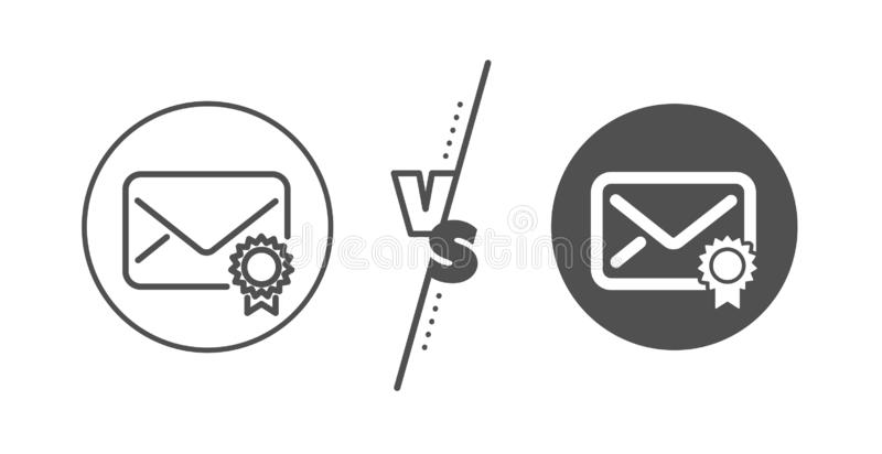 Verified Mail line icon. Confirmed Message correspondence sign. Vector. Confirmed Message correspondence sign. Versus concept. Verified Mail line icon. E-mail stock illustration
