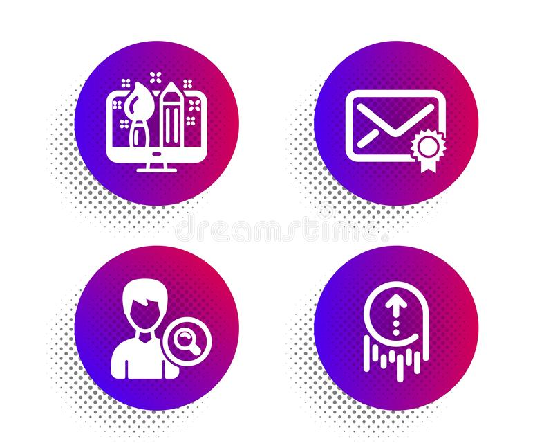 Verified Mail, Search people and Creative Design Icons set Abwischen des Hinweises Vector stock abbildung