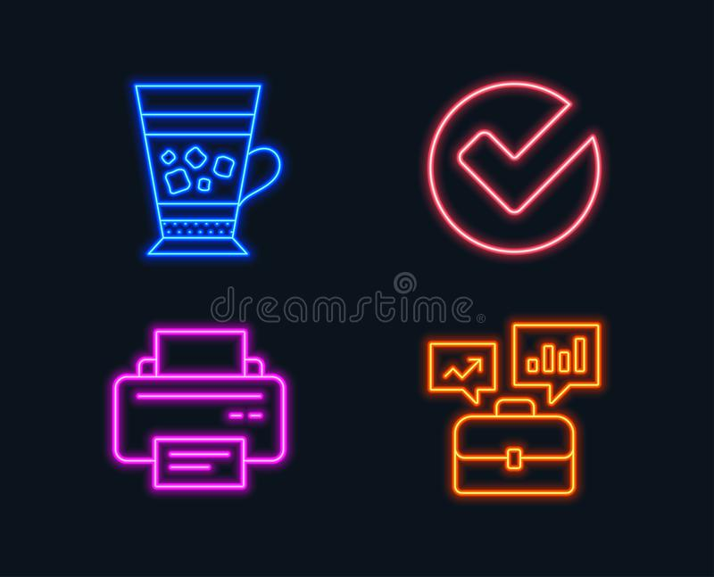 Verifieer, de pictogrammen van Frappe en van de Printer Bedrijfsportefeuilleteken Geselecteerde keus, Koude drank, Drukapparaat vector illustratie