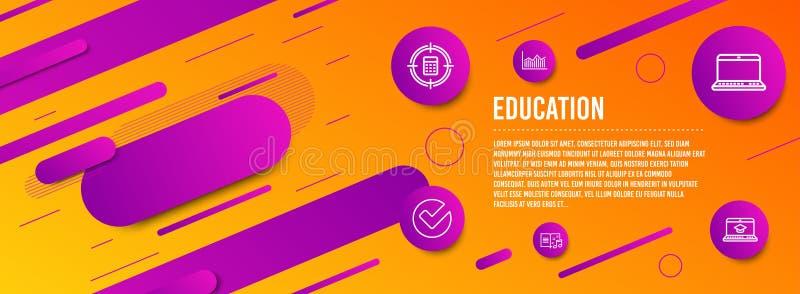 Verifieer, vastgesteld Calculatordoel en Notitieboekjepictogrammen Muziekboek, Gelddiagram en de tekens van het Websiteonderwijs  vector illustratie