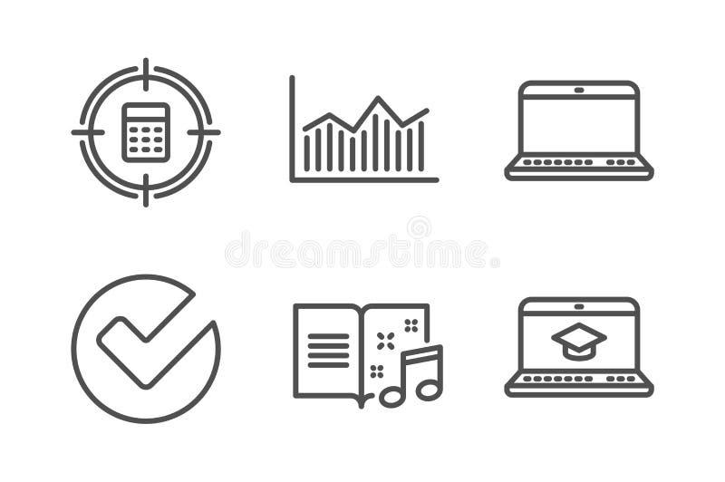 Verifieer, vastgesteld Calculatordoel en Notitieboekjepictogrammen Muziekboek, Gelddiagram en de tekens van het Websiteonderwijs  stock illustratie