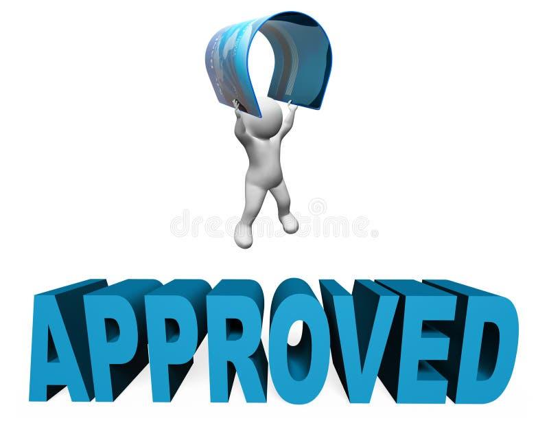 Verifieerden de Creditcard Goedgekeurde Middelen en verzekerden het 3d Teruggeven royalty-vrije illustratie