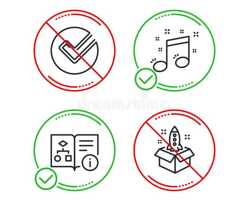 Verifiera, den tekniska algoritmen och symbolsupps?ttningen f?r musikalisk anm?rkning Startup tecken Valt val, projekt doc, musik vektor illustrationer