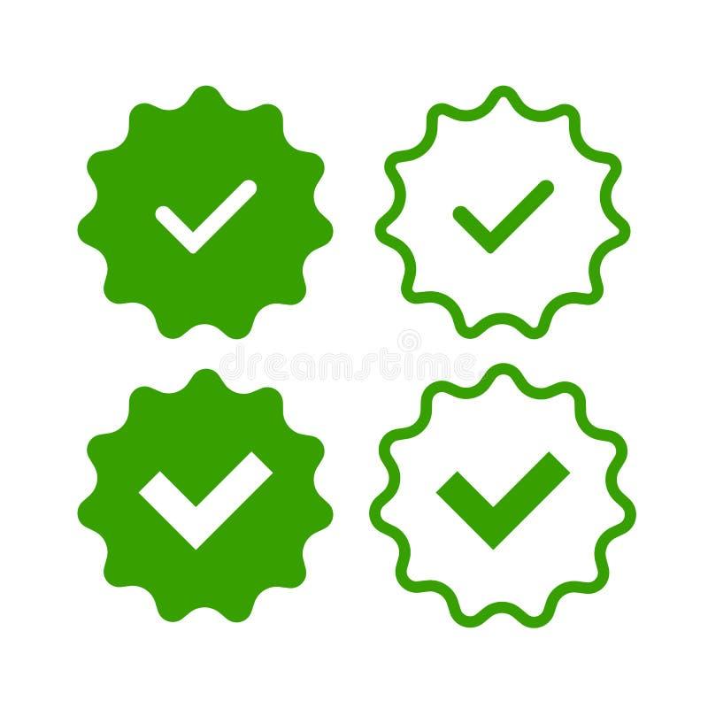 Verifiera-emblem vektor illustrationer