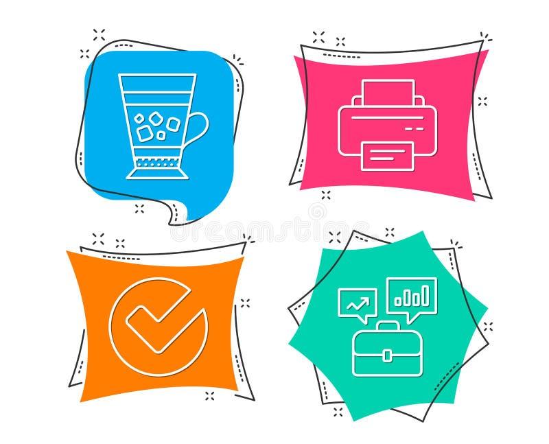 Verifiera, Frappe och skrivarsymboler Affärsportföljtecken Utvalt val, kall drink, printingapparat vektor illustrationer