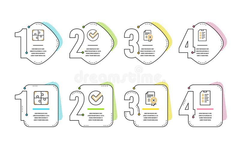 Verifiera, kassera certifikat- och pusselsymbolsupps?ttningen Kontrollistatecken vektor stock illustrationer