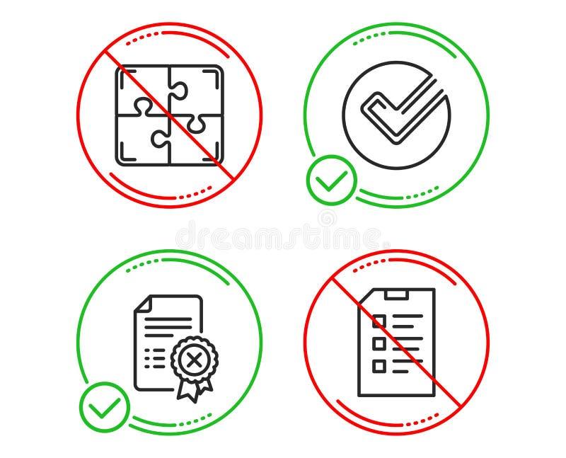 Verifiera, kassera certifikat- och pusselsymbolsupps?ttningen Kontrollistatecken vektor vektor illustrationer