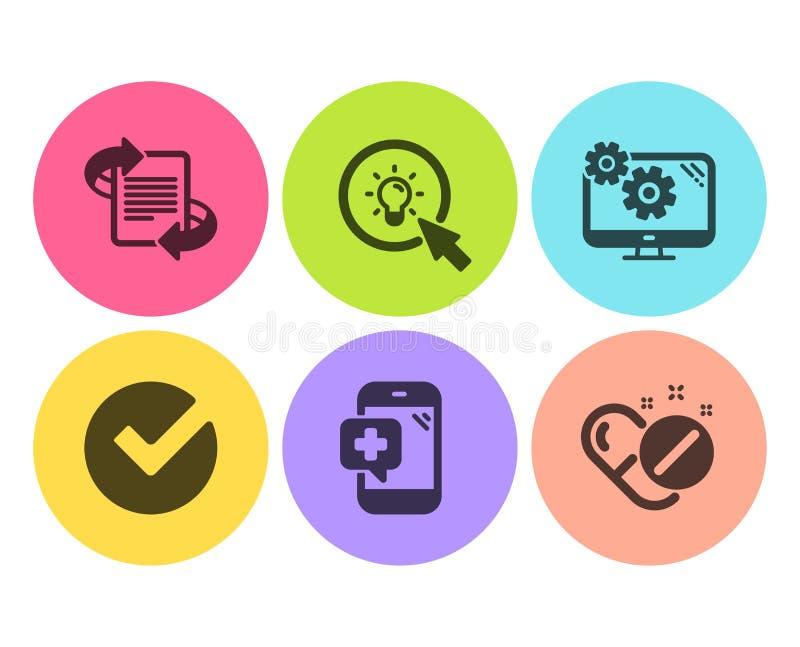 Verifiera, marknadsförings- och inställningssymbolsuppsättningen Medicinsk telefon, energi och medicinskt pillertecken vektor stock illustrationer