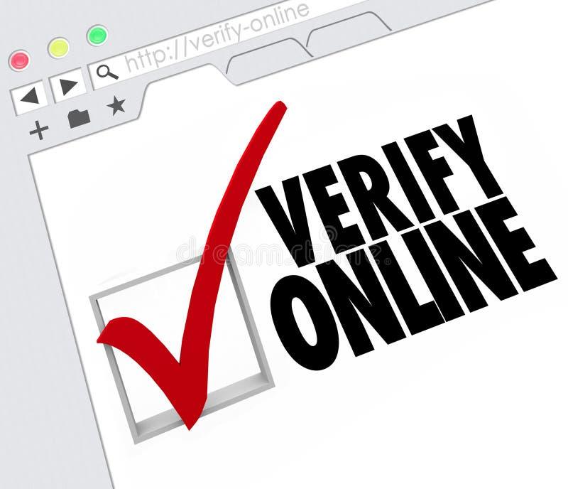 Verifiera online-godkännande för attesteringen för Websiteinternetresursen vektor illustrationer