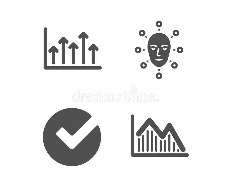 Verifiera, vända mot biometrics- och för tillväxtdiagrammet symboler Investeringgraftecken vektor stock illustrationer