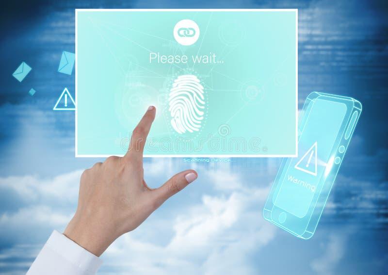 Verifierar den rörande identiteten för handen manöverenheten för fingeravtryckmobilApp royaltyfri fotografi